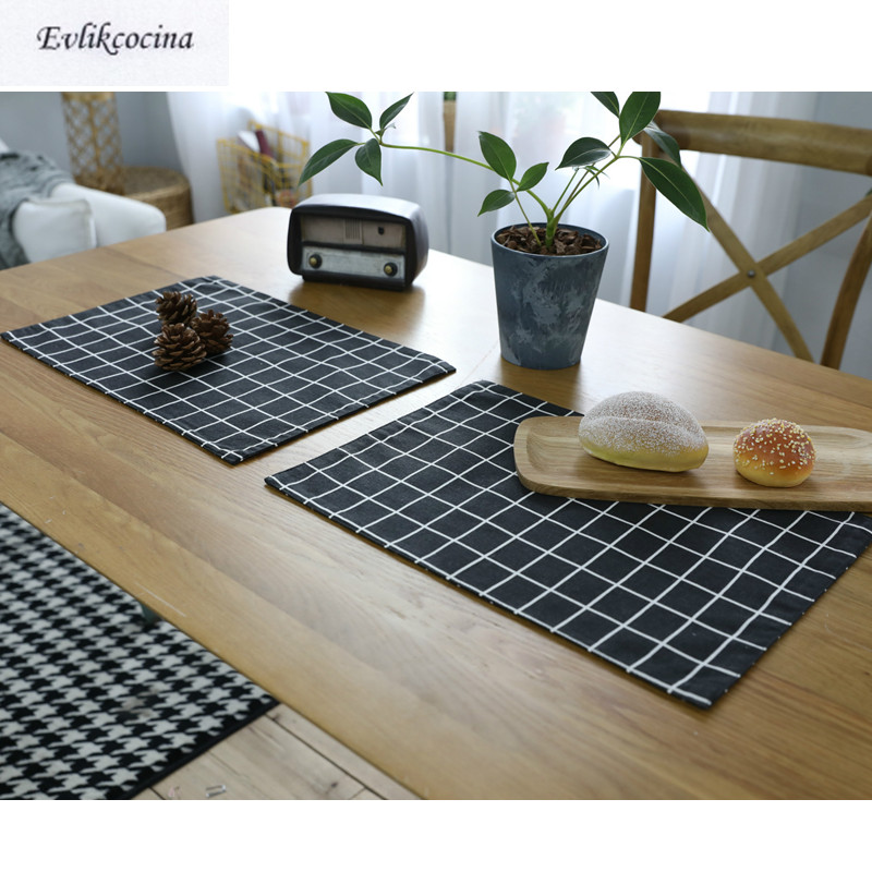 Free Shipping Black Plaid Placemat Dining Table Coaster