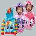 Hot brand retail niños de prendas de vestir exteriores, ropa de las muchachas de la capa, My little pony chaquetas, capa de los niños avengers / suéter