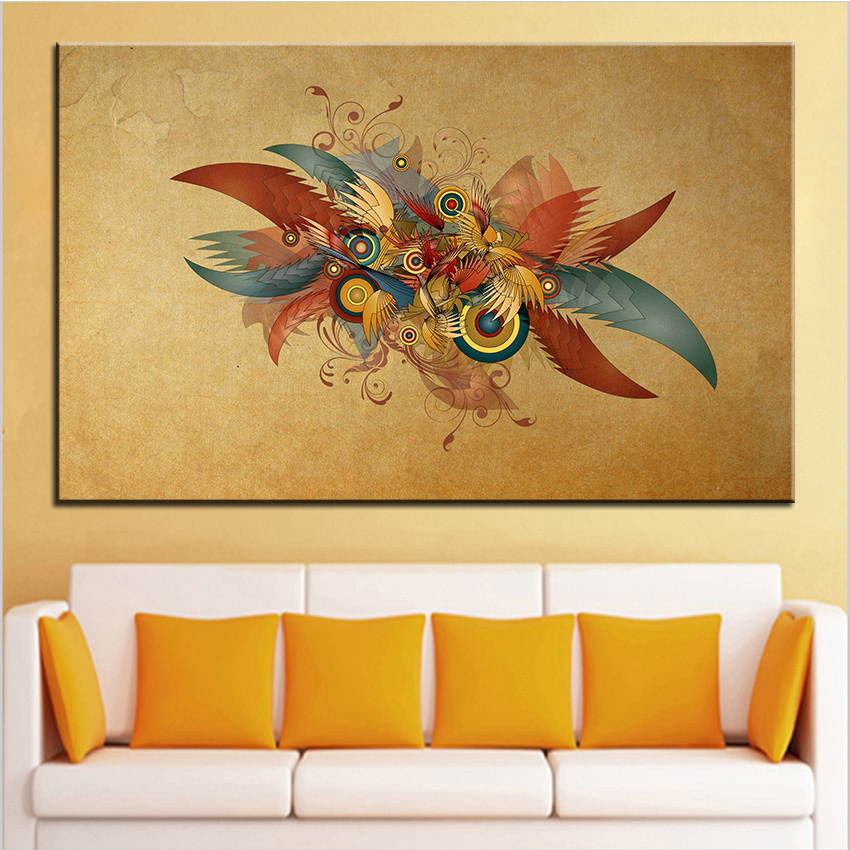 large size printing oil painting vintage abstract design wall painting decor wall art picture for living
