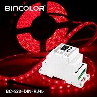 BC-833-DIN-RJ45 DIN ray DC12-24V giriş 8A * 3CH çıkışı  3CH sabit voltaj DMX512/1990 dekoder denetleyicisi için led şerit  lamba