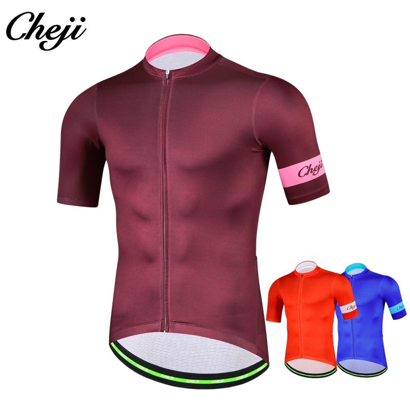CHEJI 2018 Short Sleeve Men Cycling Jersey Breathable Quick Dry Pro Mtb Bike Shirt YKK Zipper Mens Cycling Clothing Sportswear abbigliamento ciclismo alta visibilità