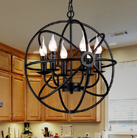 أسود خمر الصناعية قلادة ضوء الشمال الرجعية أضواء الحديد عاكس الضوء لوفت اديسون مصباح قفص معدني غرفة الطعام الريف-في أضواء قلادة من مصابيح وإضاءات على