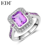 EDI 1 75 Natural Amethyst 925 Sterling Silver Anniversary Ring Statement Rings Crystal Fine Jewelry For