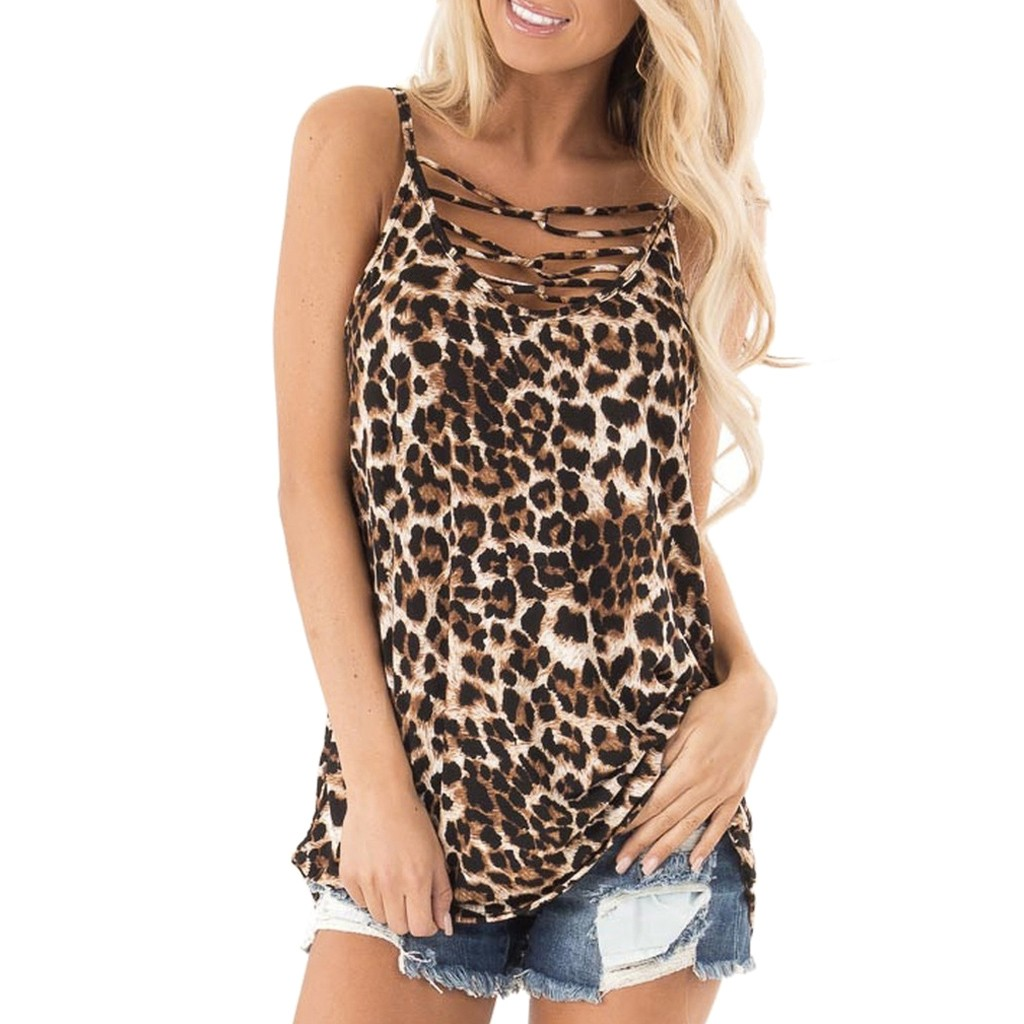 Vest Blouse Shirt Tank-Top Bandage V-Neck Leopard-Print Front-Cross Hollow-Out Off-Shoulder