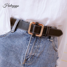HATCYGGO Fashion Women Belts Split Simple Square Buckle Belt For Student Strap No Hole Comfortable Corset Jeans