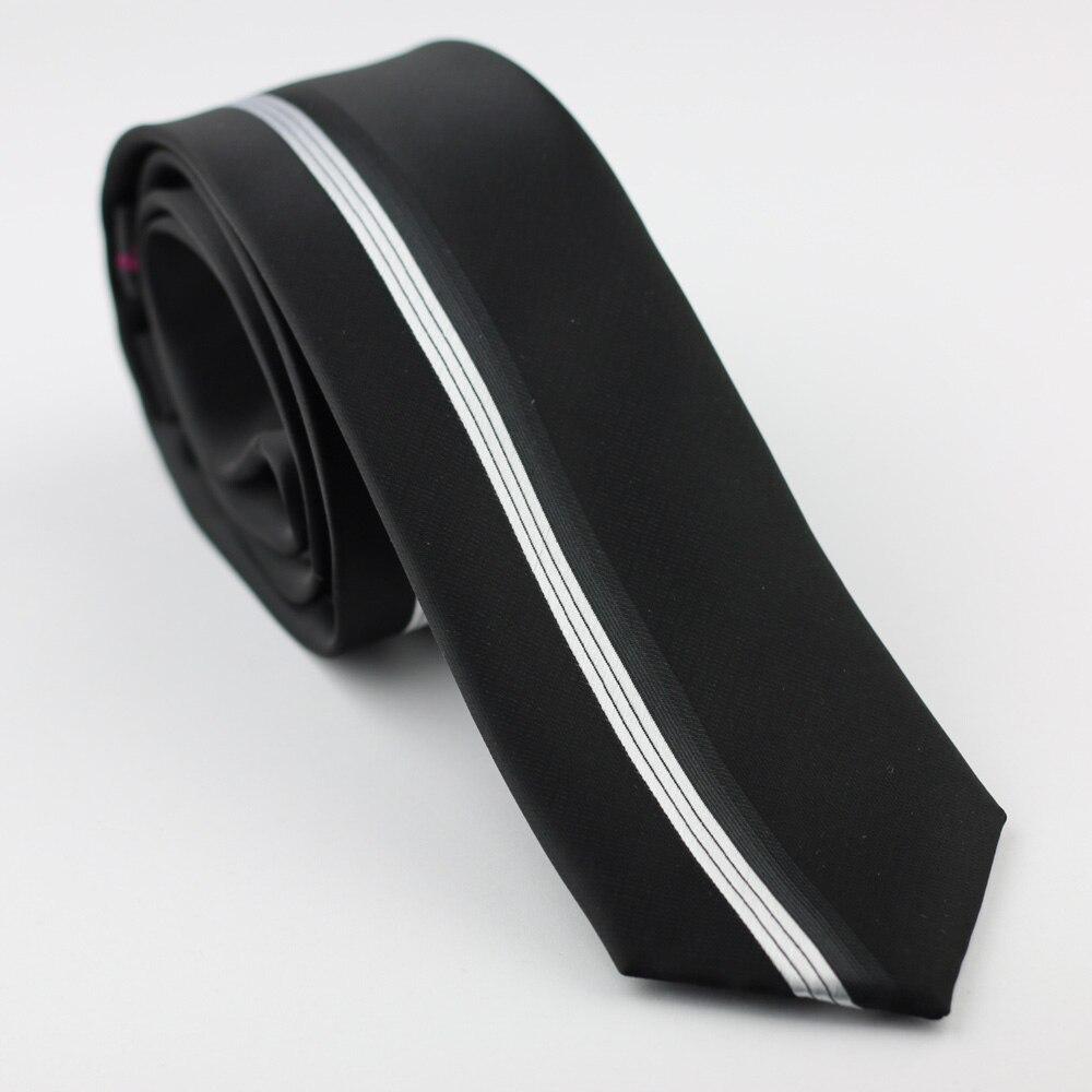 Mens Black with Silver Stripes Men/'s Slim Tie