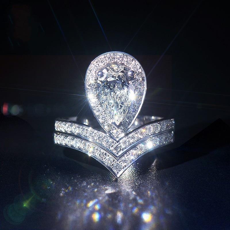 Unique nouveau bijoux de luxe 925 en argent Sterling goutte d'eau 5A zircone poire coupe CZ promesse Couple femmes bague de mariée ensemble cadeau