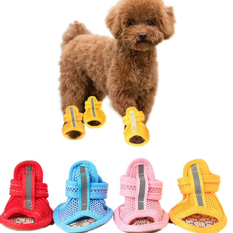 4pcs/lot Hot Sale Casual Anti-Slip Small Dog Shoes Cute Pet Shoes Shoe Spring Summer Breathable Soft Mesh Sandals Candy Colors