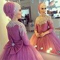 Vestidos 2016 Vestidos de Noche árabe Musulmán Invitados Balón vestido de Boda Vestidos de Baile de Tres Cuartos