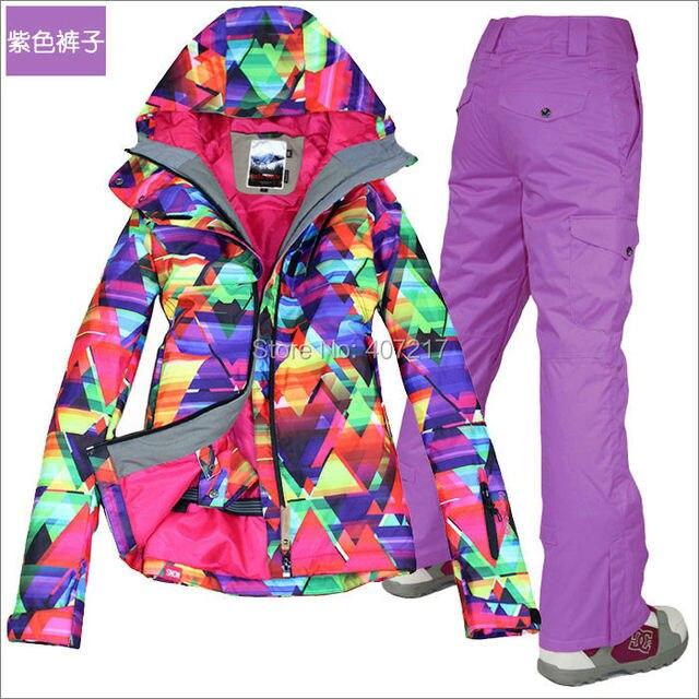 2016 hot womens colorful ski suit female snowboarding skiing suit skiwear geometric figure ski jacket and purple ski trousers