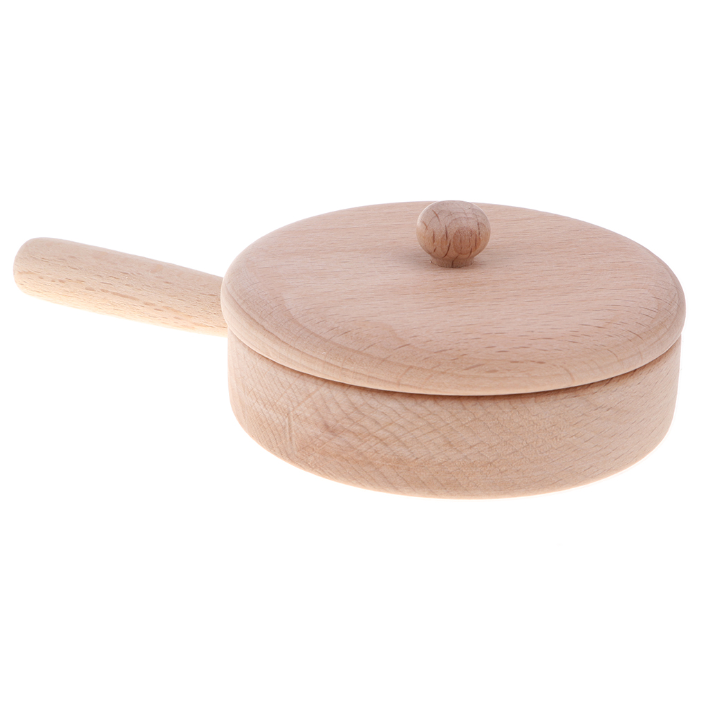 Wooden Solid Beech Tableware Kid Pretend Play Game Kitchen Toy - Pan M