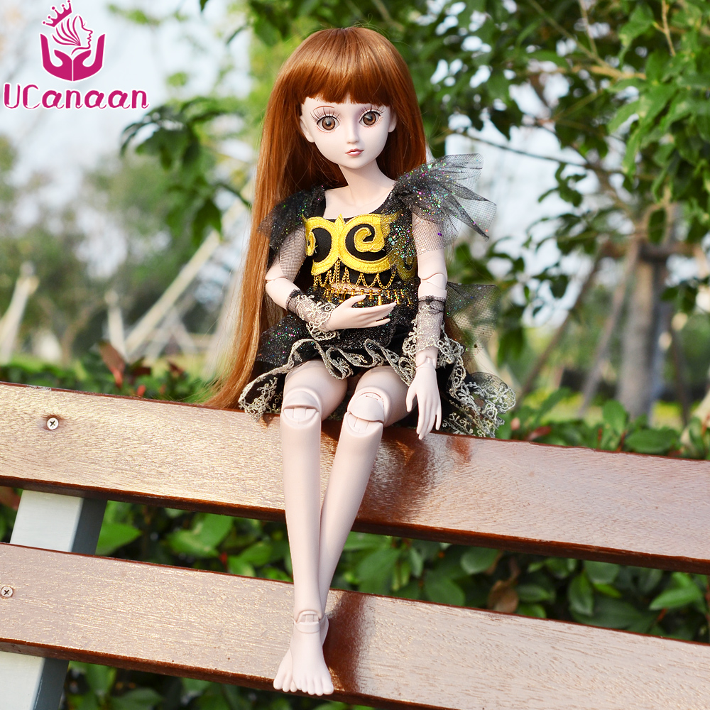 UCanaan BJD 1/3 Girls Model Reborn Dolls 19 Ball Joited Doll With All Outfit Wig Eyes Dress Makeup Kids DIY Dressup Toys