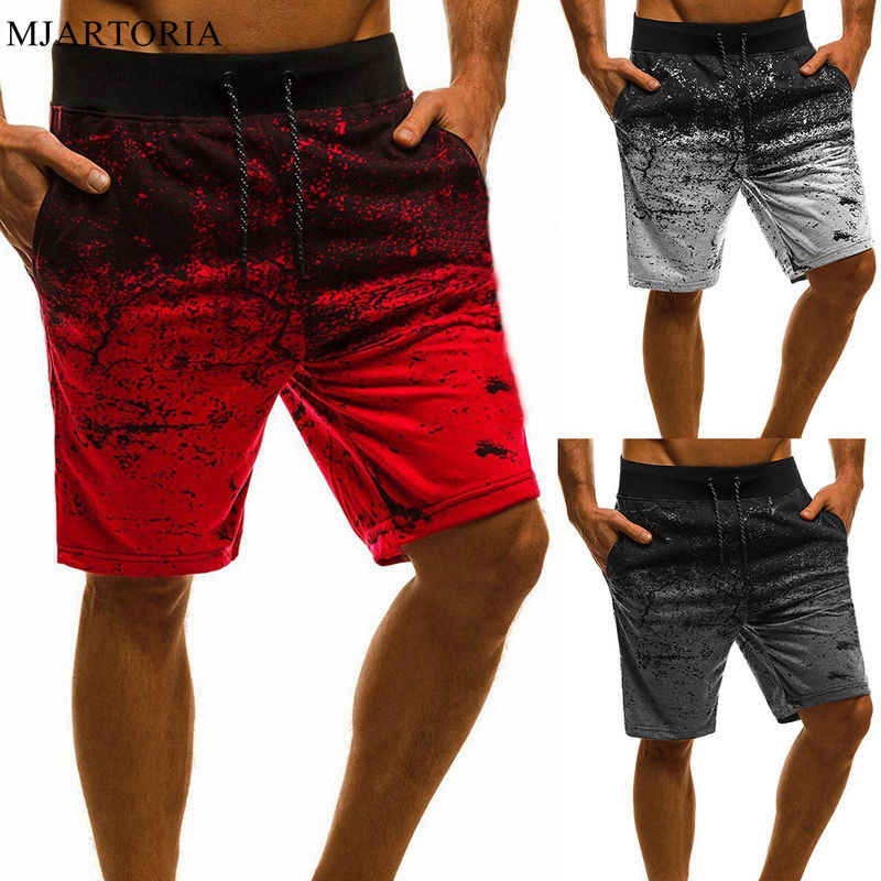 MJARTORIA Summer Men's Casual Shorts Point Training Shorts Pants Pockets Running Jogging Fitness Gradient Beach Short Sweatpant