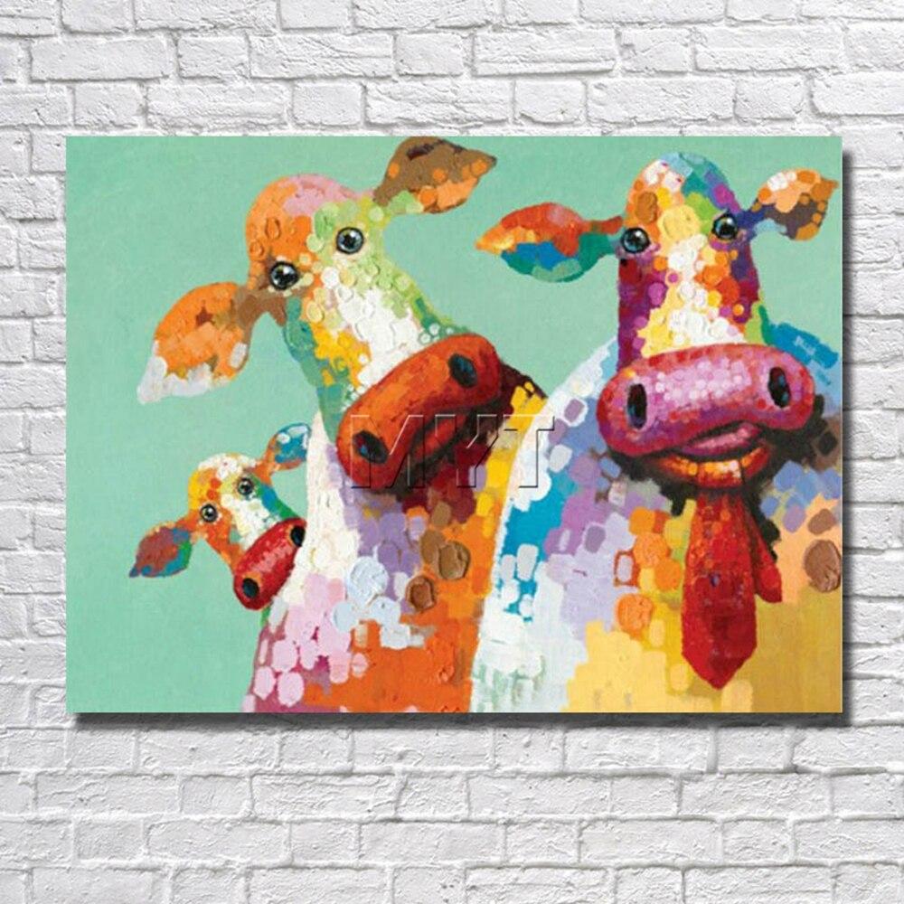Мультфильм корова Холсты для рисования Домашний Декор в гостиную фотографии с оформлена картина чтобы повесить стены картины живопись