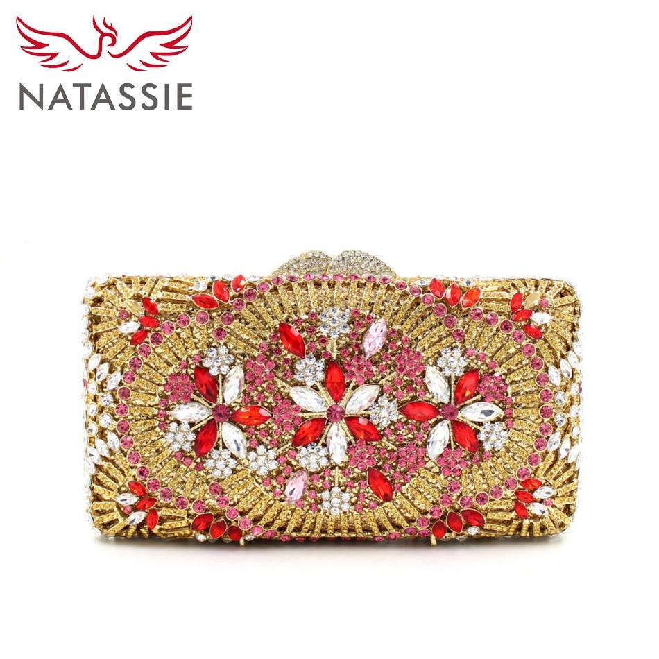 ФОТО NATASSIE High Class Gold Luxury Crystal Clutch Bag Women Flower Pattern Wedding Purses Lady Evening Bags L2061