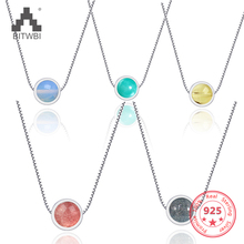 High Quality Strawberry Crystal Pendant Necklace 925 Sterling Silver Simple Fashion Short Necklaces Lovers Cute Gift special brand fashion clever maxi necklace 925 sterling silver necklaces