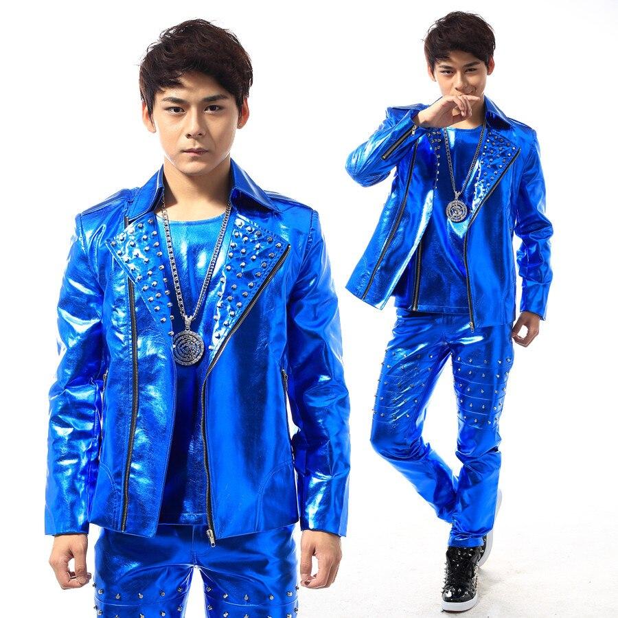 (jakk + püksid + vest) meeste sinine neet sobib tantsija laulja - Meeste riided - Foto 5