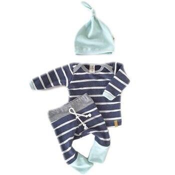 3pcs Baby Boys Girls Kids Clothes Set Newborn Infant Tops T-Shirts Long Sleeve Pants Casual Hat Bodysuit Outfit Clothing Set 1