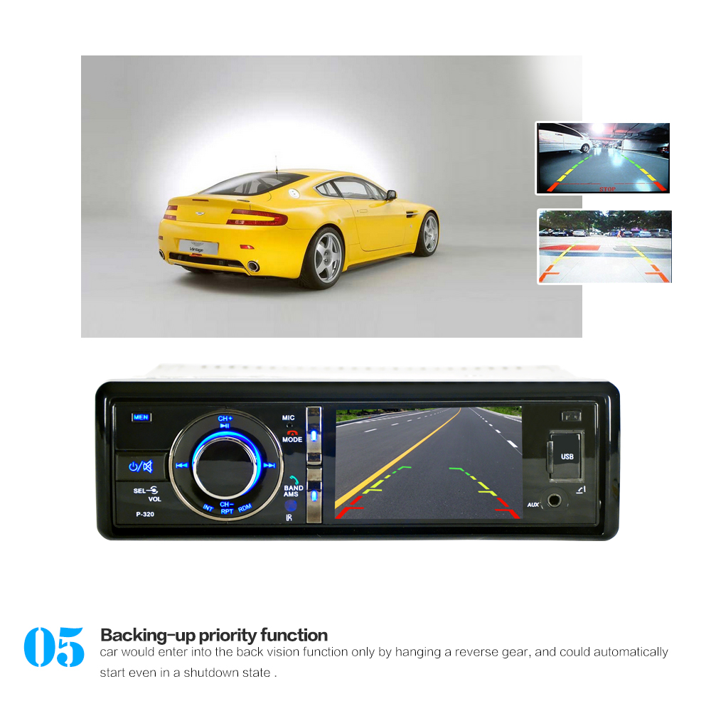 3'' 1 Din Bluetooth Car DVD Player Digital Touch Screen Built-in Microphone with Detachable Front Panel Support DVD / CD 9 inch car headrest dvd player pillow universal digital screen zipper car monitor usb fm tv game ir remote free two headphones