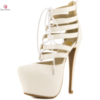 Original Intention Sexy Women Sandals Fashion Round Toe Nice Thin High Heels Sandals Elegant Beige Shoes