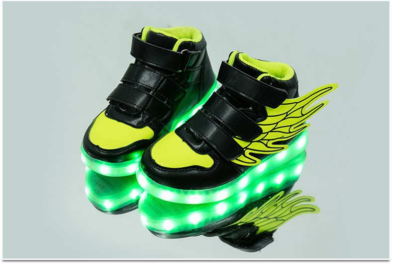 HTB1ueesekyWBuNjy0Fpq6yssXXaJ - UncleJerry Kids Light up Shoes with wing Children Led Shoes Boys Girls Glowing Luminous Sneakers USB Charging Boy Fashion Shoes