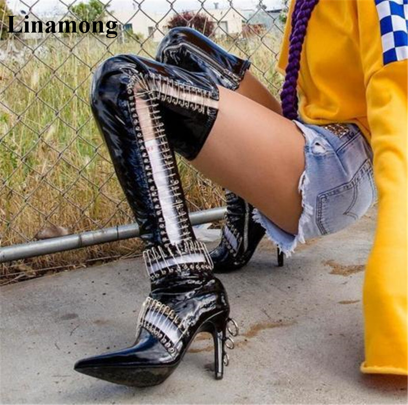 2018 HOT Sell Sexy Women Metal reflective textured leather thin high heel black pointed toe unique long boots 2018 HOT Sell Sexy Women Metal reflective textured leather thin high heel black pointed toe unique long boots