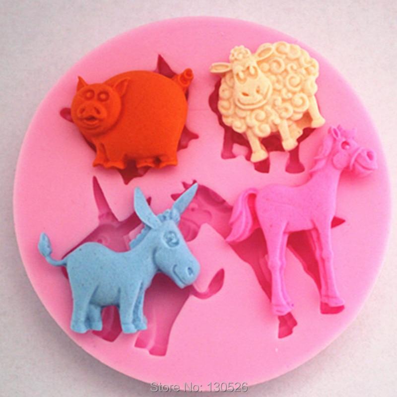 Pig Sheep Horse Donkey Livestock Silicone Mold Fondant Sugar Craft Cake Decorating Baking Tools kitchen Accessories