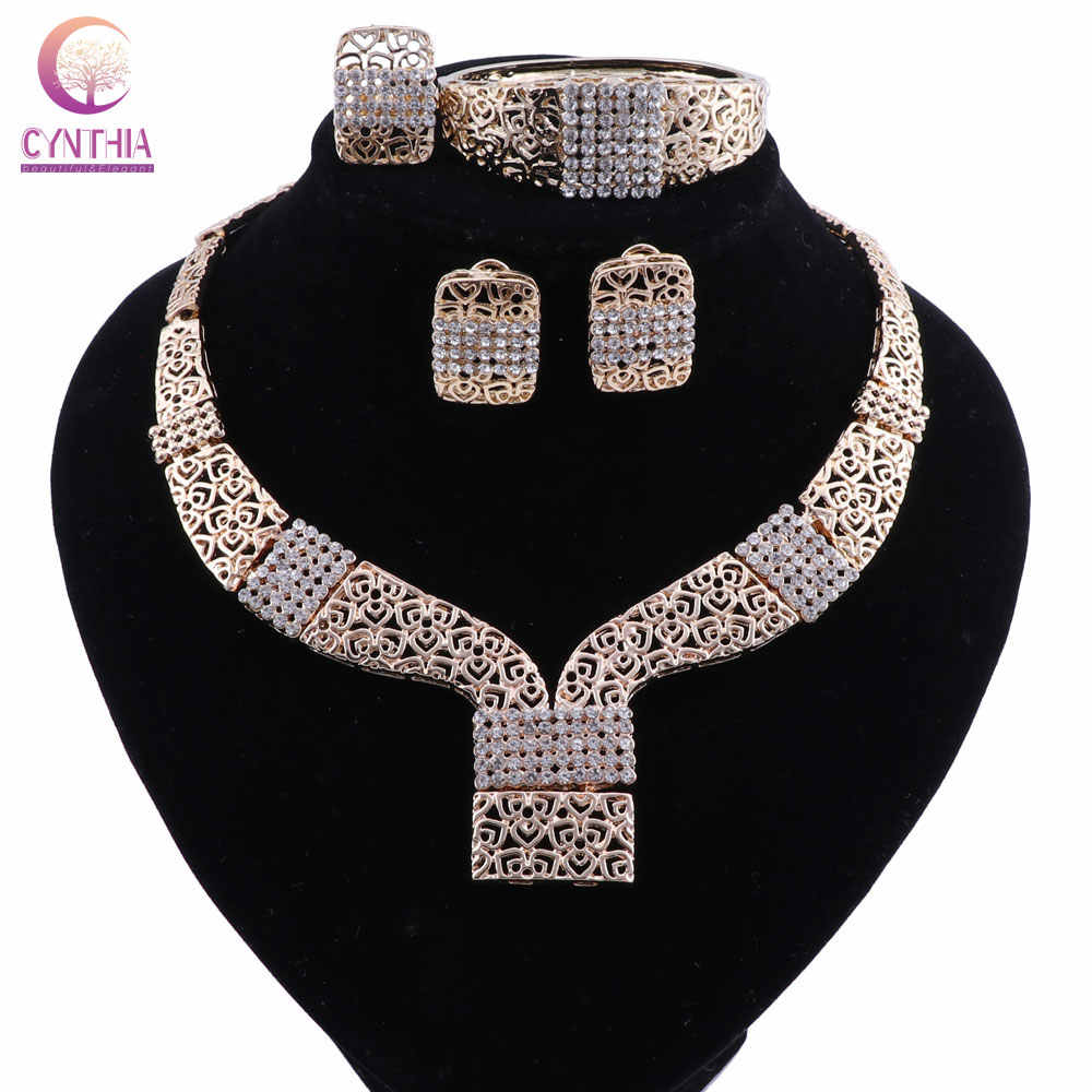 CYNTHIA Women African Beads Jewelry Set Crystal Jewelry Sets Pendant Necklace Bracelet Earrings Rings Jewelery Costume