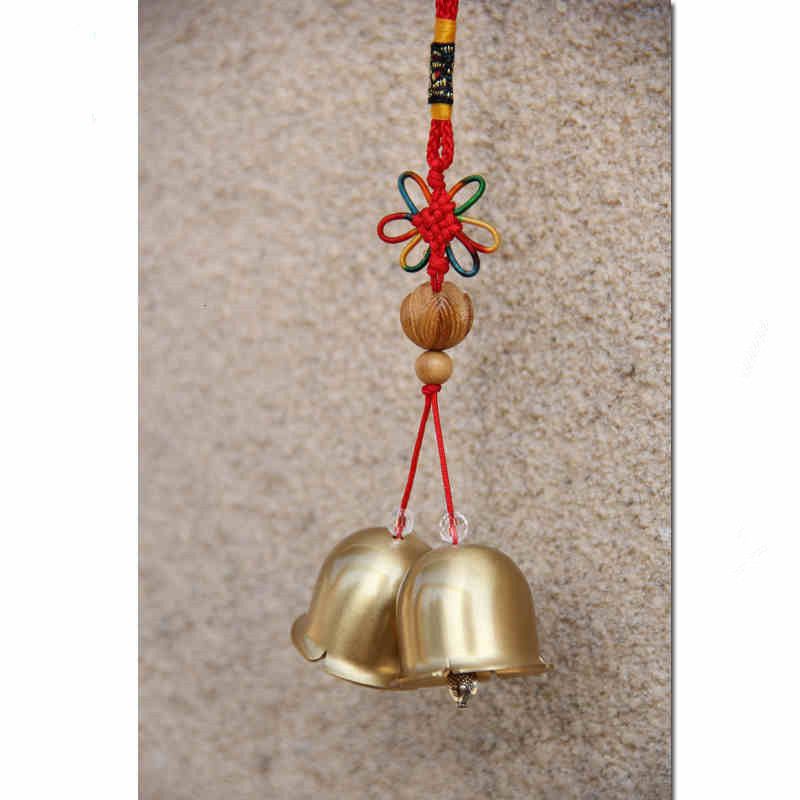 Creative Hangings Auspicious Chinese Knot 2 Brass Bells Chime Antique Imitation Shop Home Decor Lover's Gifts Lucky Cat