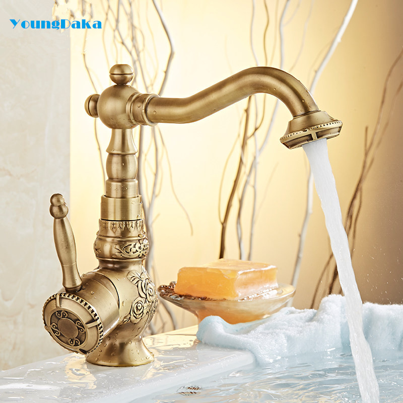 YoungDaka Bathroom Basin Faucet Solid Copper Antique Finish Deck Mounted Hot and Cold Water Mixer Single Handle Vintage Sink Tap modern bathroom products chrome finish hot and cold water basin faucet mixer single handle water tap 5101