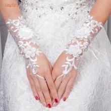 Пикантные Свадебные Прихватки для мангала аппликации цветы Бусины ручной работы без пальцев Свадебные перчатки невесты Свадебные аксессуары