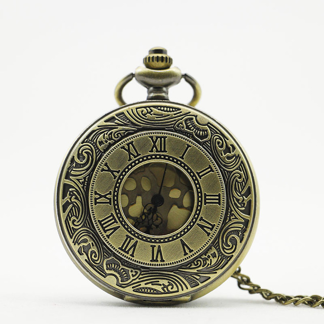 Vintage Bronze Hollow One Piece Comics Quartz Pocket Watch Necklace Pocket & Fob Chain Bronze Pendants Clock Women Men Gift