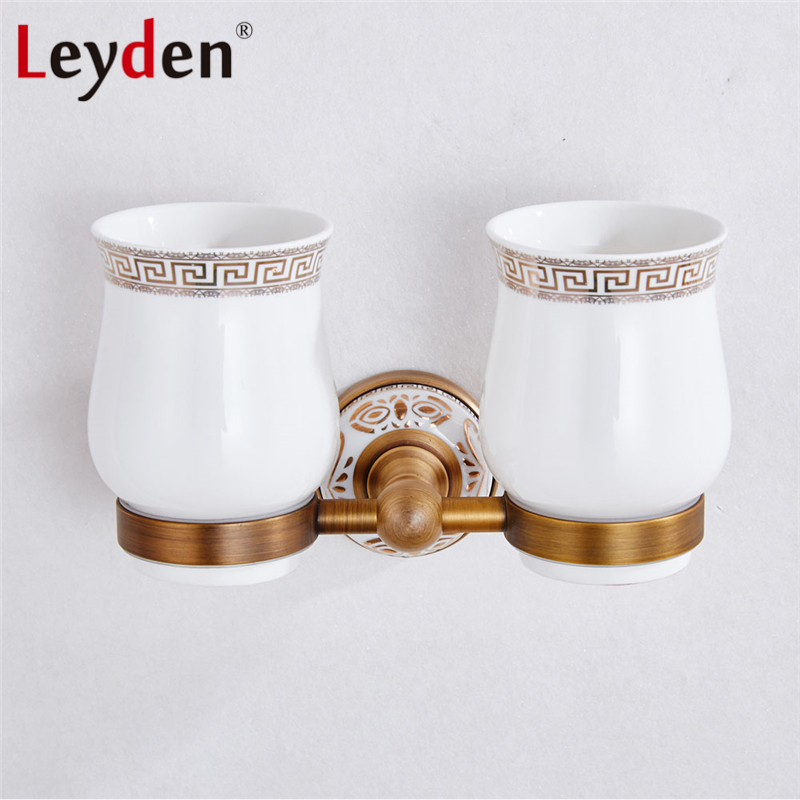 Leyden Double Toothbrush Holder with Ceramics Cups ORB/ Antique Brass Copper Wall Mounted White Base Toothbrush Tumbler Holder image