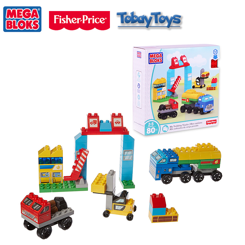 2017 New Fisher Price Mega Bloks Early Educational Toy Junior Builders My Trekking Trucks Building Toy Mes Camions DWR78 For Gif original brand mega bloks first builders series big building bag children block toy play funny educational sac de blocs dch55 54