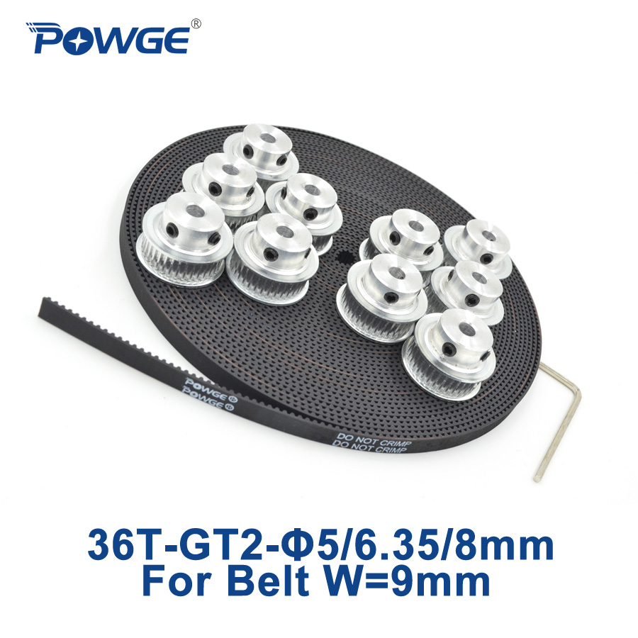 POWGE 10pcs 36 teeth GT2 Timing Pulley Bore 5mm 6.35mm 8mm + 10Meters width 9mm GT2 open Timing Belt 2GT Belt pulley 36Teeth 36T powge 8pcs 32 teeth gt2 timing pulley bore 5mm 6 35mm 8mm 5meters width 9mm gt2 open timing belt 2gt pulley belt 32teeth 32t