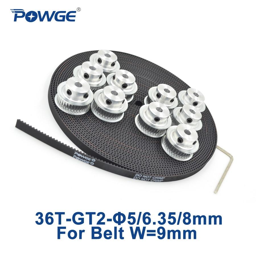 Powge 10 шт. 36 зубы GT2 Сроки ролик диаметр 5 мм 6.35 мм 8 мм + 10 м Ширина 9 мм GT2 открытых зубчатых пояса 2GT шкив 36 зубы 36 т
