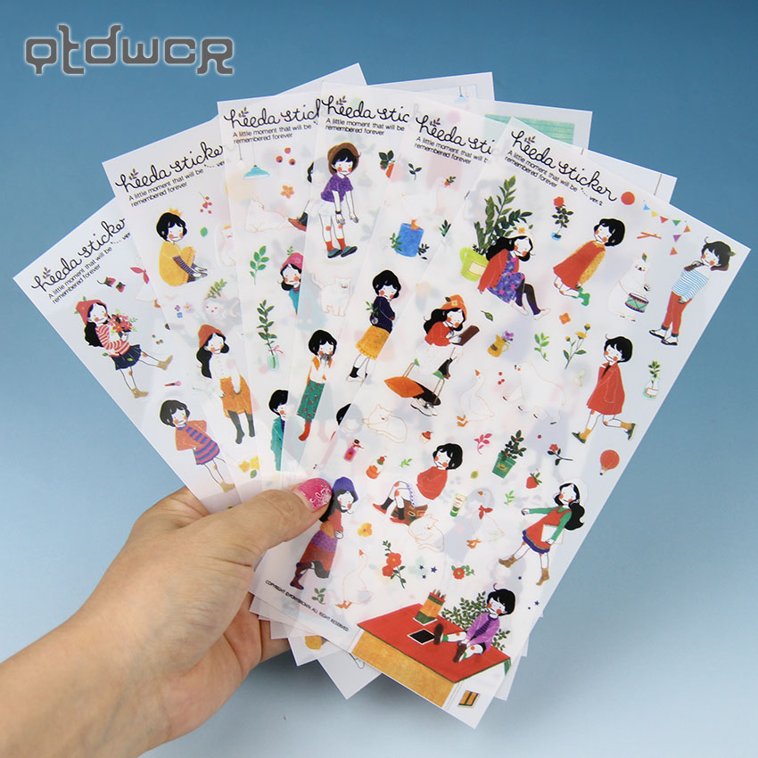 6 Sheets Sweet Girls Diary PVC Sticker Cute Kawaii Sticky Notes Planner Stickers for Notebook Diary Office Stationery Decoration diary