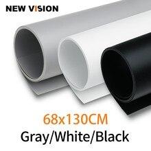Noir blanc gris 68 cm * 130 cm 27*51 pouces sans couture imperméable à leau PVC toile de fond papier pour Photo vidéo photographie Studio