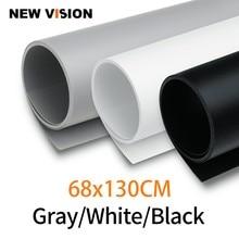 Papel de fondo de PVC sin costuras para estudio de fotografía y vídeo, PVC, resistente al agua, negro, blanco, gris, 68cm * 130cm, 27*51 pulgadas