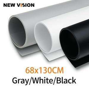 Image 1 - Siyah Beyaz Gri 68 cm * 130 cm 27*51 inç Dikişsiz Su geçirmez PVC Zemin arka plan kağıt için fotoğraf Video Fotoğraf Stüdyosu