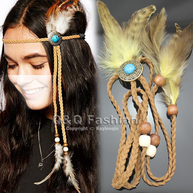 Indian Turkey Blue Stone Bead Leather Crown Feather Navajo Zuni Native American Head Hair Dress Band