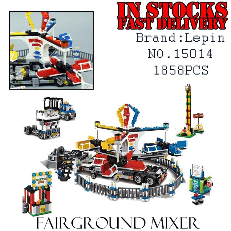 1858PCS LEPIN 15014 Fairground Mixer Modular Street Creator Expert Truck Building Bricks Blocks Toys Compatible 10244 brinquedos fairground adventure