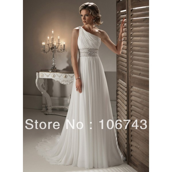 free shipping 2016 new style Sexy bride wedding Custom size one shoulder beading   bridesmaid     dress
