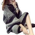 H.SA Women Oversized Long Sweater Pullovers Oneck Striped Plus Size Jumpers Casual Winter Loose Pullovers Christmas sweater