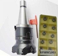 New NT40 M16 FMB27 45L+ 80mm face end mill EMR 5R 80-27-6T + 10pcs RPMT1003 insert cnc mill new nt40 m16 triangle face end mill tp22 80 27 10pcs carbide insert cnc mill