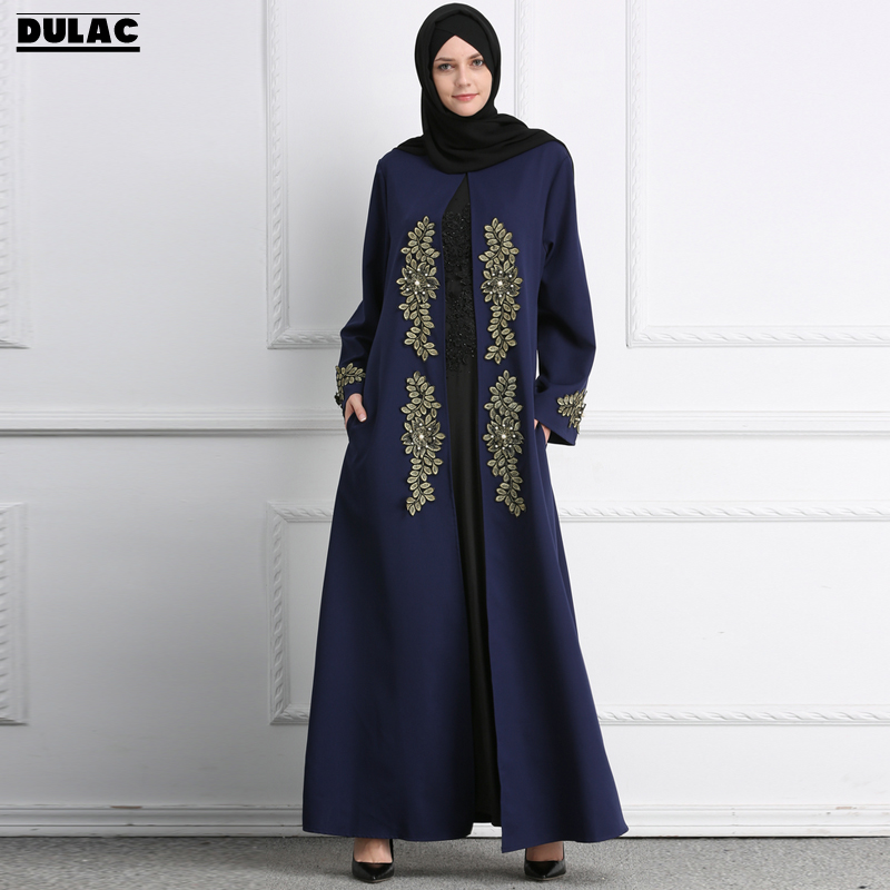 2018 Muslim Middle East Embroidered Gown Women Fashion O-Neck Long Sleeve Ramadan Casual Abaya Eid Robes Dinner Party Long Dress flowers water lilly motorola droid 2 skinit skin