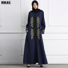 2018 Muslim Timur Tengah Gaun Bersulam Wanita Fesyen O-Neck Lengan Panjang Ramadan Kasual Abaya Idul Fitri Makan Malam Parti Pakaian Panjang