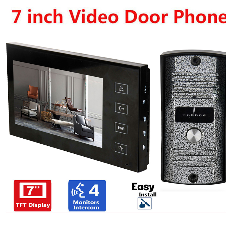 Home Security 7 Inch TFT Touch Screen LCD Color Video Door Phone Doorbell Intercom system Night Vision Eye Camera Doorphone 7 inch color tft lcd wired video door phone home doorbell intercom camera system with 1 camera 1 monitor support night vision