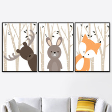 Deer Fox Rabbit Elk Forest Wall Art Canvas Painting Nordic Posters And Prints Cartoon Pictures For Kids Room Home Decor