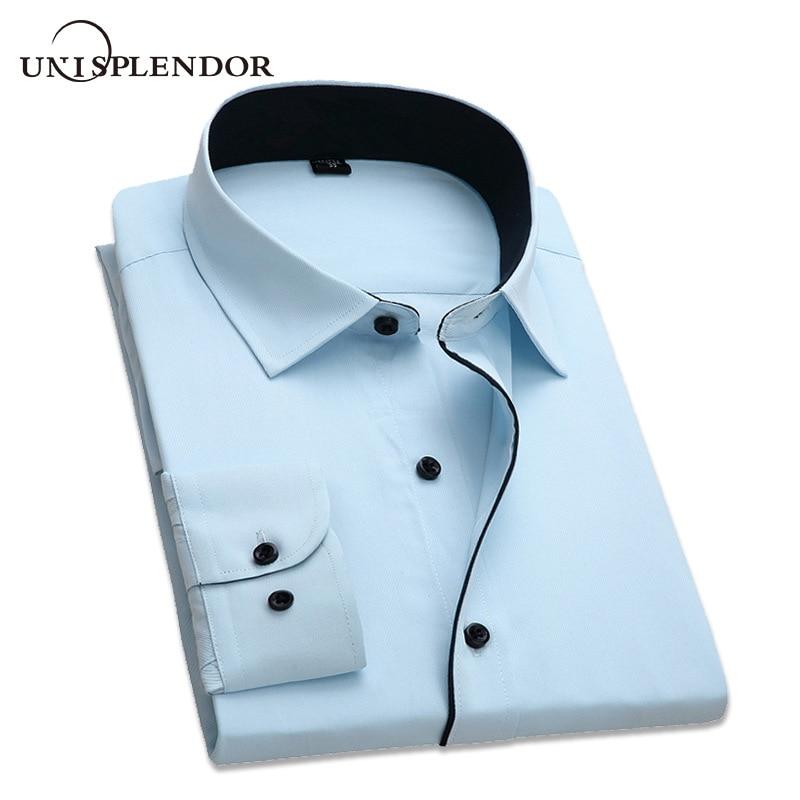 남자 드레스 셔츠 2019 새로운 도착 남자 긴 소매 슬림 맞는 패션 디자이너 고품질 솔리드 공식 비즈니스 셔츠 4XL YN258
